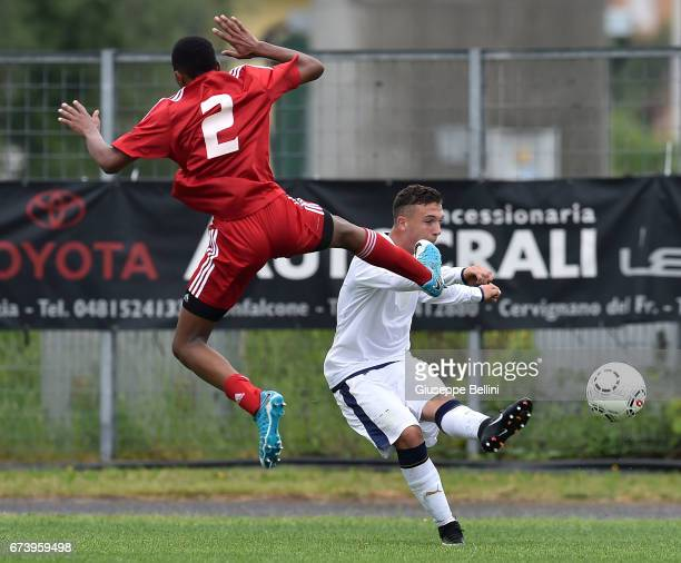Abdulla Marzooq of UAE U15 and Simone Achille Giosuè of Italy U15 in action during the Torneo delle Nazioni match between Italy U15 and UAE U15 on...