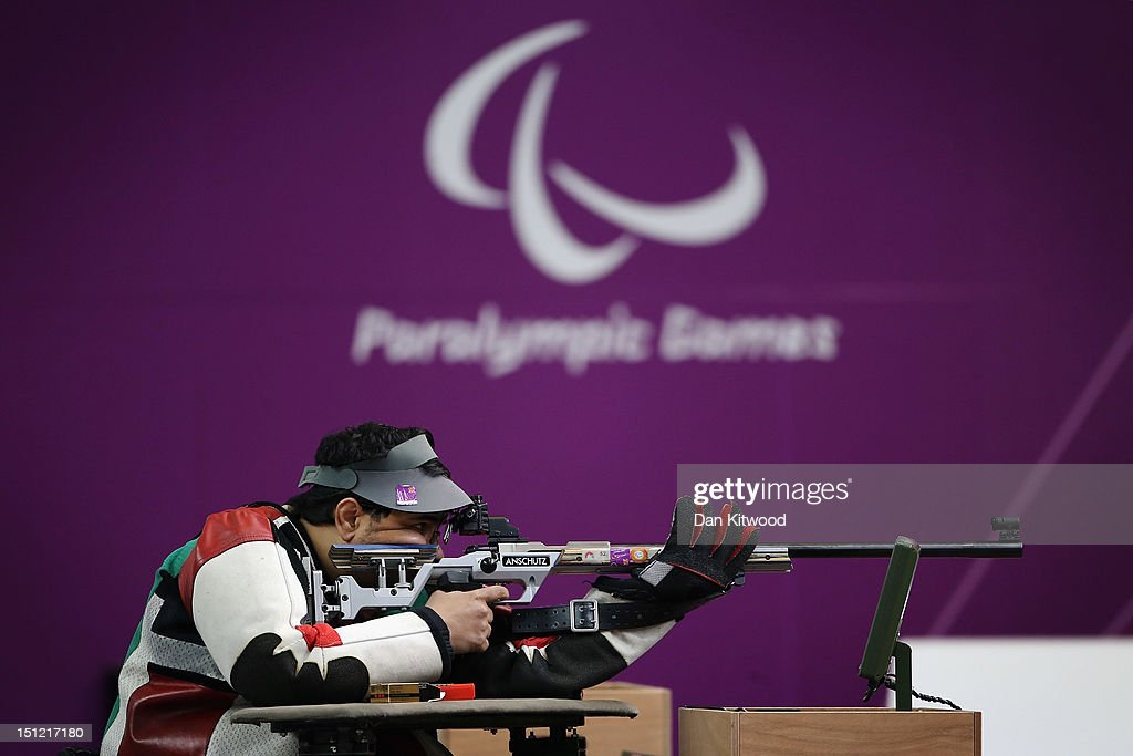 Abdulla Sultan Alaryani of United Arab Emirates competes in the mixed R6-50m Rifle Prone- SH1 final round on day 6 of the London 2012 Paralympic Games at The Royal Artillery Barracks on September 4, 2012 in London, England.