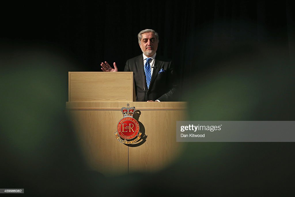 <a gi-track='captionPersonalityLinkClicked' href=/galleries/search?phrase=Abdullah+Abdullah&family=editorial&specificpeople=695346 ng-click='$event.stopPropagation()'>Abdullah Abdullah</a>, Chief Executive Officer of Afghanistan speaks to miliatary cadets at the Royal Military Academy Sandhurst on December 5, 2014 in Camberley, England. Afghanistan's new leaders are hoping to build bridges with the West as they struggle to bring peace to their country, while foreign combat forces withdraw after 13 years.