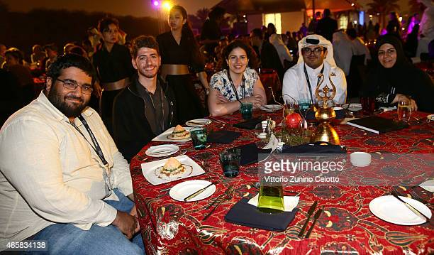 Abdullah Al Mulla Mohammed Akram Shibly Deema Azar Mohamed Al Mahmeed and Nora Al Subai enjoy a reception at the Museum of Islamic Art on day five of...