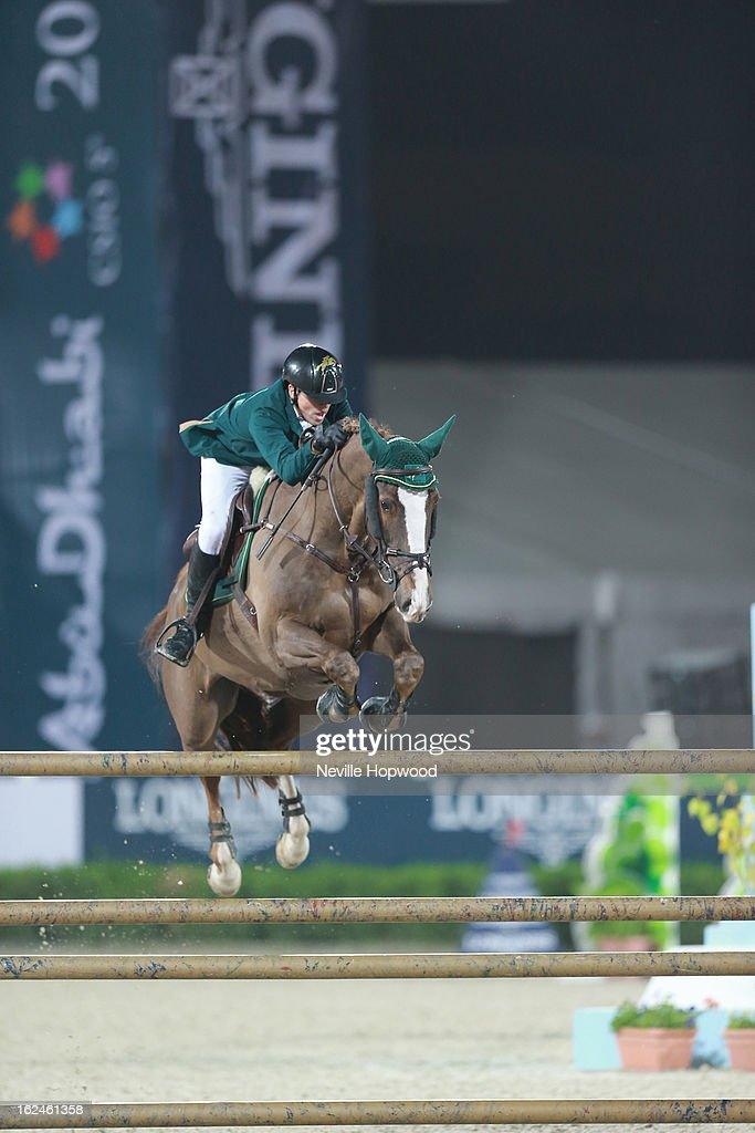 Abdullah Al Sharbatly of Saudi Arabia rides Larkhill Cruiser during the President of the UAE Showjumping Cup - Furusiyyah Nations Cup Series presented by Longines on February 23, 2013 in Al Ain, United Arab Emirates.