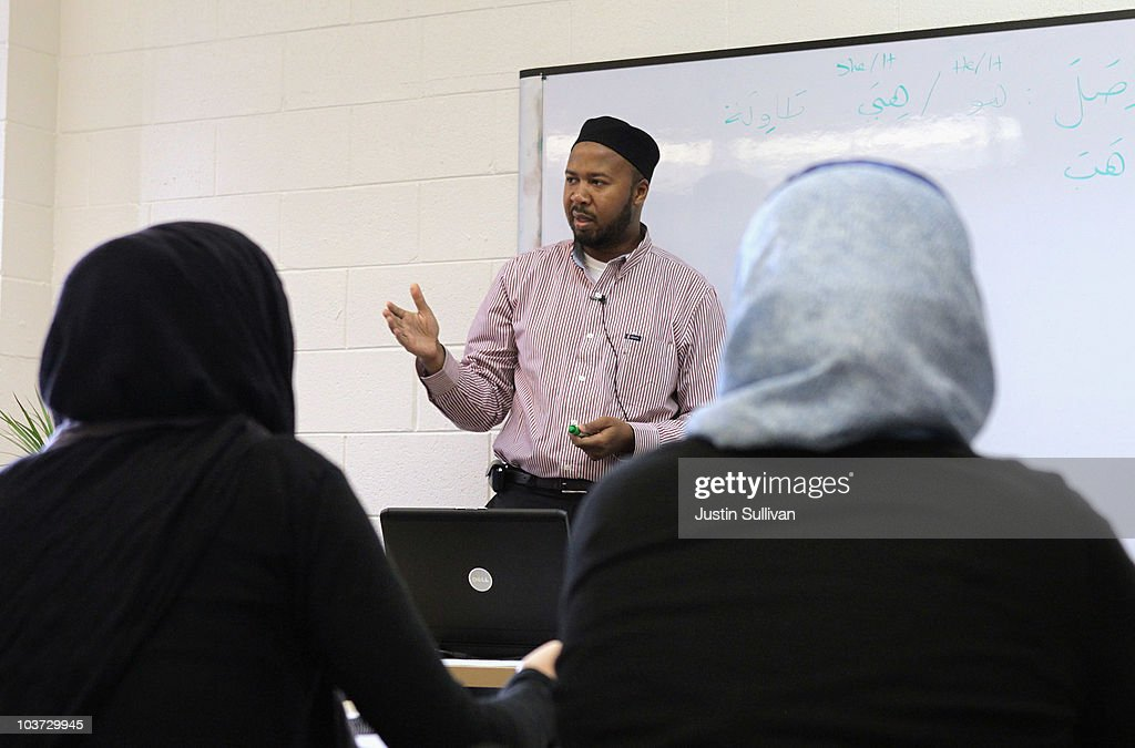 Abdullah Ali (C) teaches a class at Zaytuna College August 30, 2010 in Berkeley, California. Zaytuna College opened its doors on August 24th and hopes to become the first accredited four-year Islamic college in the United States. The school was founded by three Muslim-American scholars and offers degrees in Islamic law, theology and Arabic languages. Fifteen students are enrolled in the inaugural class and the school hopes to increase that number to 2,200 within ten years.