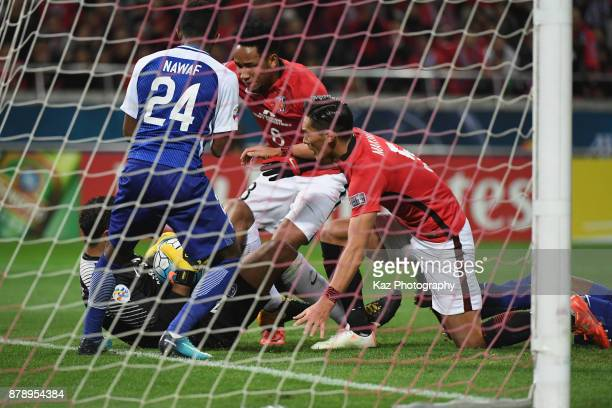 Abdullah AlMayoof of AlHilal makes a save during the AFC Champions League Final second leg match between Urawa Red Diamonds and AlHilal at Saitama...