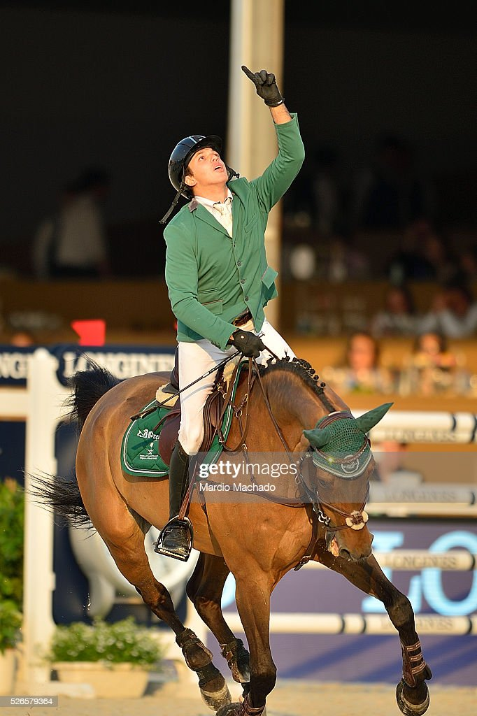 Abdullah Alsharbatly celebrating the first position during the Longines Global Champions Tour of Shanghai jump-off 1.60 m height on April 30, 2016 in Shanghai, China.