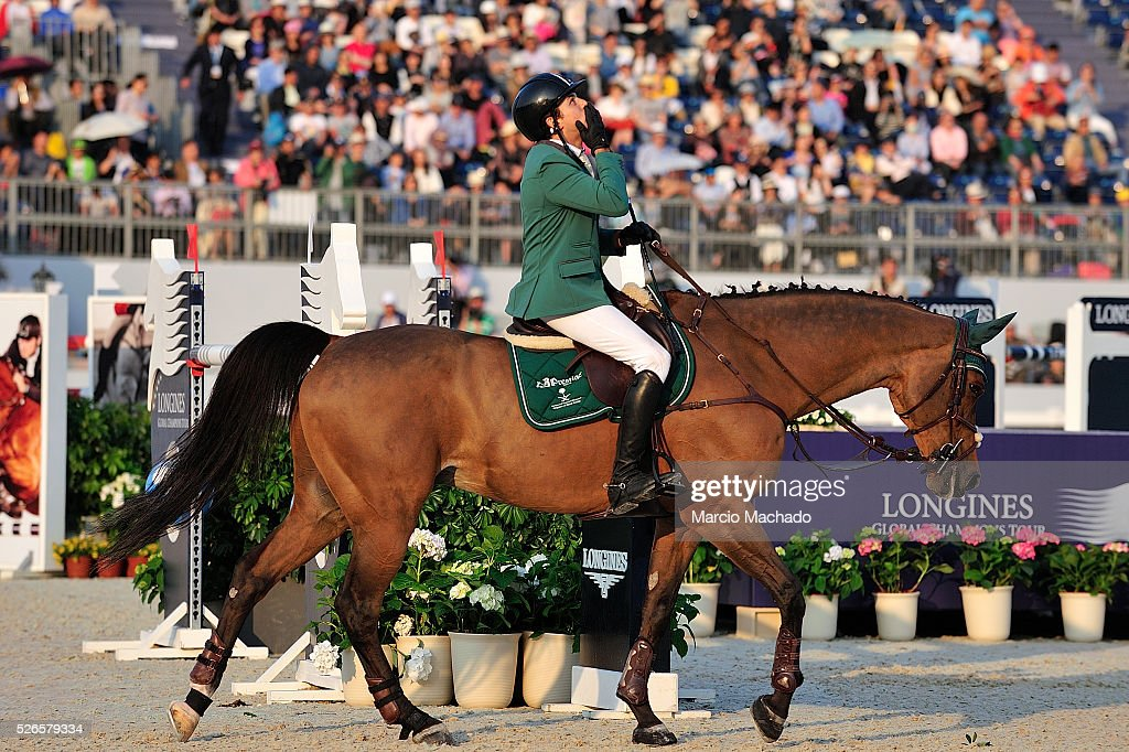 Abdullah Alsharbatly of Saudi Arabia celebrating the first position during the Longines Global Champions Tour of Shanghai jump-off 1.60 m height on April 30, 2016 in Shanghai, China.