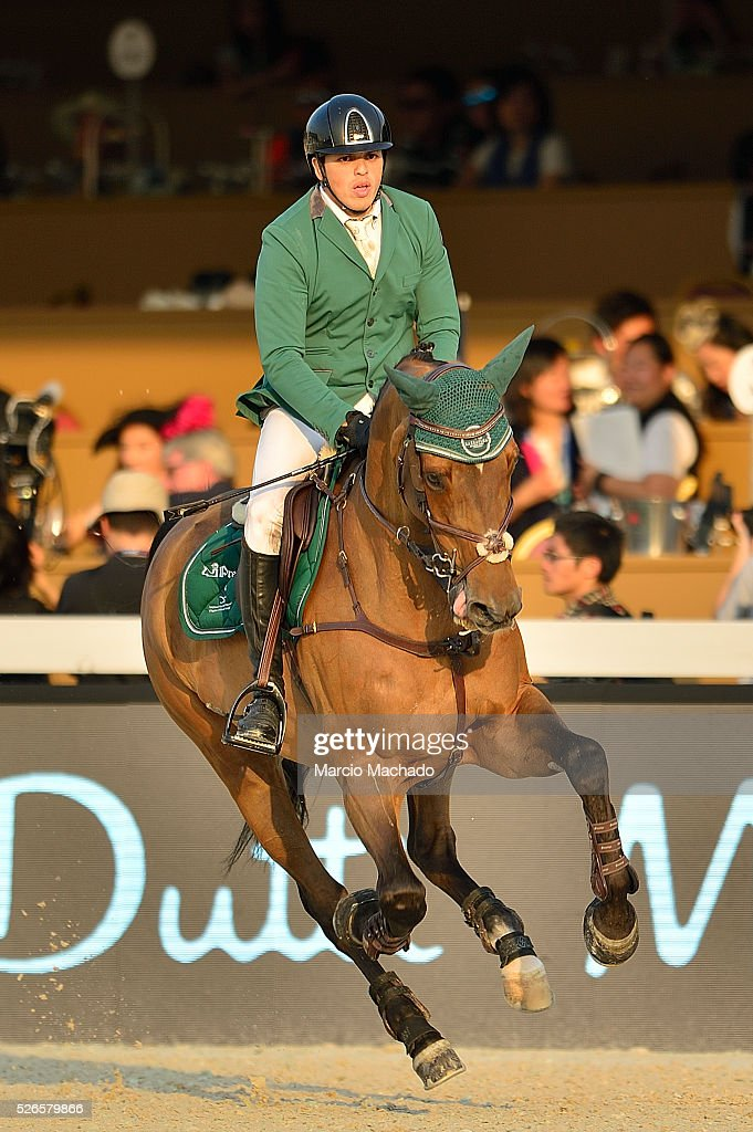 Abdullah Alsharbatly of Saudi Arabia during the Longines Global Champions Tour of Shanghai day 2 jump-off 1.60 m height on April 30, 2016 in Shanghai, China.