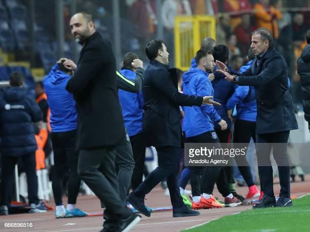 Abdullah Avci Head Coach of Medipol Basaksehir celebrates his team after scoring a goal during the Turkish Spor Toto Super Lig football match between...