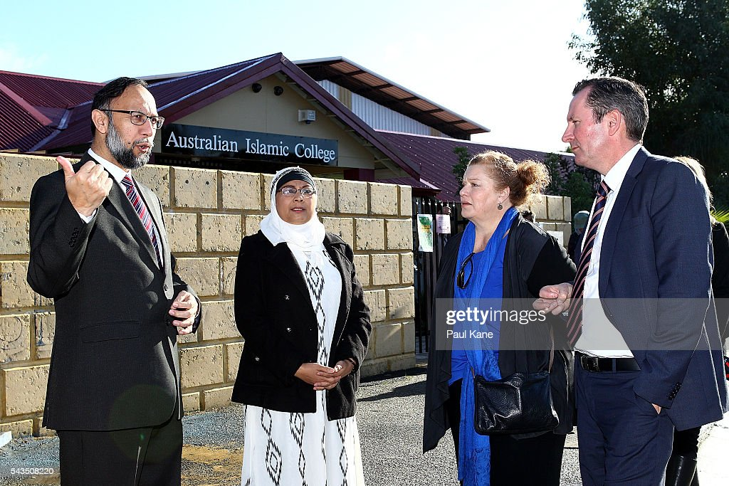 Abdullah Khan, Executive Principal & CEO of the Australian Islamic College and Masreen Ahmed, Principal of the Australian Islamic College-Thornlie talk with <a gi-track='captionPersonalityLinkClicked' href=/galleries/search?phrase=Mark+McGowan&family=editorial&specificpeople=834776 ng-click='$event.stopPropagation()'>Mark McGowan</a>, Leader of the Opposition and Labor Party of Western Australia outside the Thornlie Australian Islamic College and Mosque on June 29, 2016 in Perth, Australia. Police are investigating a firebomb attack which occurred last night at the Thornlie Mosque. No one was injured in the attack which took place during evening prayers.