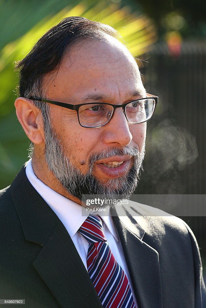 Abdullah Khan, Executive Principal & CEO of the Australian Islamic College talks with reporters outside the Australian Islamic College and Mosque on June 29, 2016 in Perth, Australia. Police are investigating a firebomb attack which occurred last night at the Thornlie Mosque. No one was injured in the attack which took place during evening prayers.