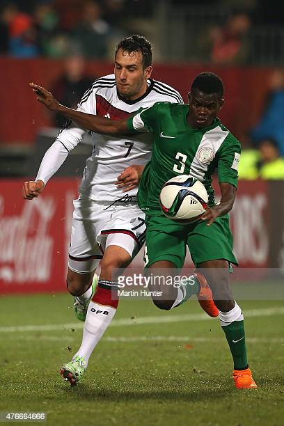 Abdullahi Mustapha of Nigeria competes with Levin Oeztunali of Germany during the FIFA U20 World Cup New Zealand 2015 Round of 16 match between...