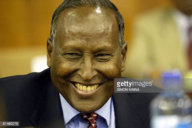 Abdullahi Yusuf Ahmed smiles after winning the presidency of Somalia in a vote by lawmakers among 26 candidates 10 October 2004 according to election...