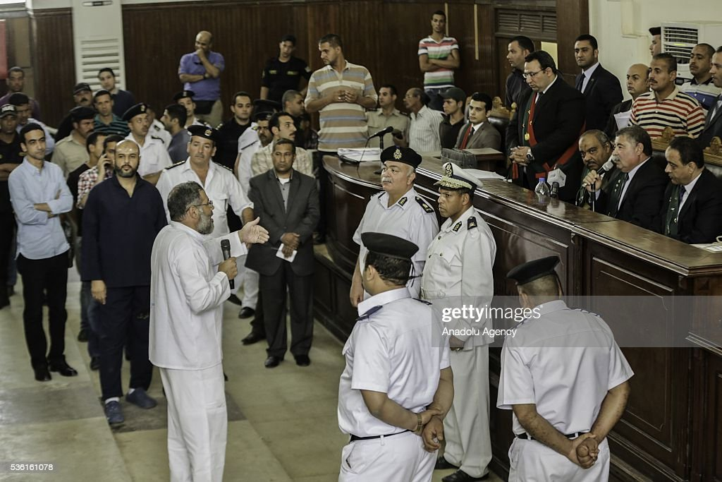 Abdul-Rahman al-Bir, the mufti of the Muslim Brotherhood speaks during the trials of Muslim Brotherhood members at the Police Academy in the capital Cairo, Egypt on May 31, 2016.