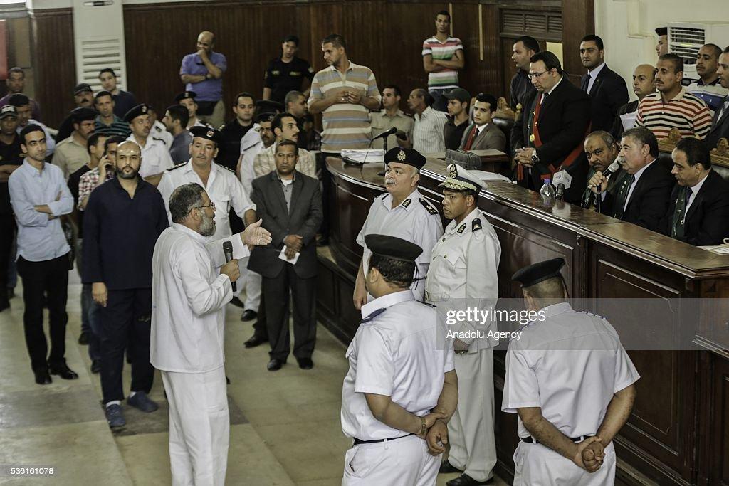 Abdul-Rahman al-Bir, the mufti of the Muslim Brotherhood speaks during the trials of Muslim Brotherhood members at the Police Academy in the capital Cairo, Egypt on May 31, 2016.