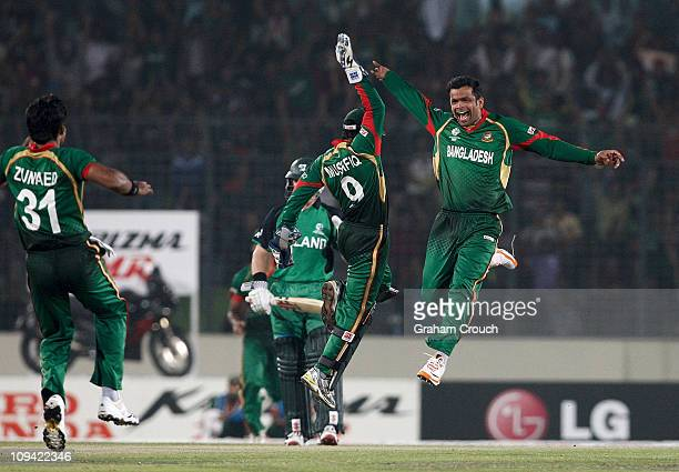 Abdur Razzak celebrates with wicketkeeper Mushfiqur Rahim of Bangladesh after the stumping of Paul Stirling of Ireland during the 2011 ICC World Cup...