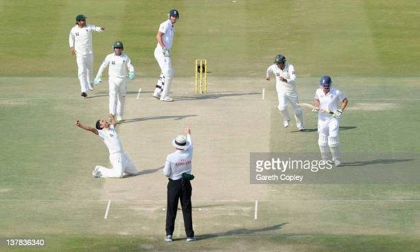 Abdur Rehman of Pakistan celebrates dismissing Kevin Pietersen of England during the second Test match between Pakistan and England at Sheikh Zayed...