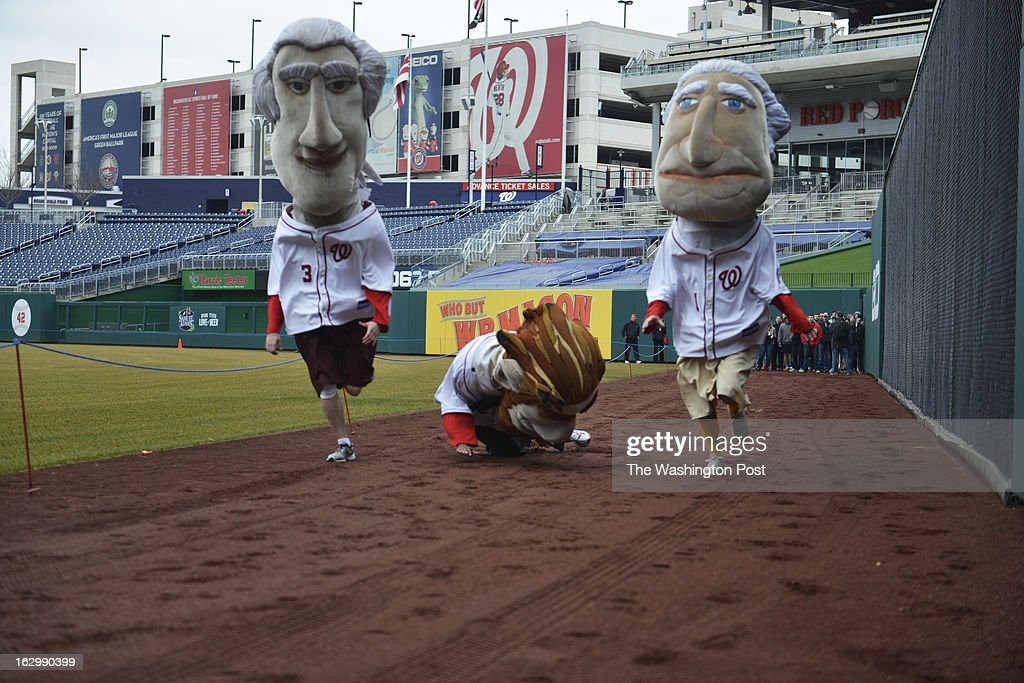 Abe (center) succumbs to being top heavy while racing his rivals Tom (left) and George (right) as Washington Nationals fans audition to become the next Racing President at Nationals Park in Washington, D.C. on March 02, 2013. Candidates are competing for a chance to fill the shoes of Presidents George Washington, Thomas Jefferson, Abraham Lincoln, Theodore Roosevelt and William Howard Taft. Candidates perform freestyle dance, run a 40-yard dash and run two Presidents Races from center field to the home dugout. Developed in 2006, the Racing Presidents are 12 foot oversized mascots who compete in the GEICO Presidents Race during the fourth inning of every Nationals home game.