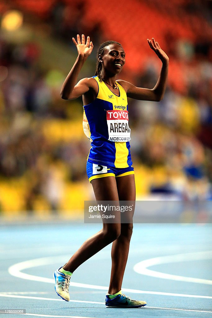<a gi-track='captionPersonalityLinkClicked' href=/galleries/search?phrase=Abeba+Aregawi&family=editorial&specificpeople=7507662 ng-click='$event.stopPropagation()'>Abeba Aregawi</a> of Sweden celebrates winning gold in the Women's 1500 metres finalduring Day Six of the 14th IAAF World Athletics Championships Moscow 2013 at Luzhniki Stadium on August 15, 2013 in Moscow, Russia.