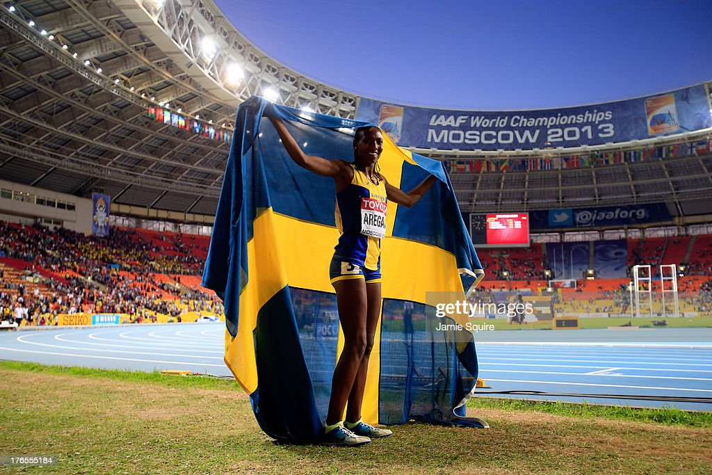 <a gi-track='captionPersonalityLinkClicked' href=/galleries/search?phrase=Abeba+Aregawi&family=editorial&specificpeople=7507662 ng-click='$event.stopPropagation()'>Abeba Aregawi</a> of Sweden celebrates winning gold in the Women's 1500 metres finald uring Day Six of the 14th IAAF World Athletics Championships Moscow 2013 at Luzhniki Stadium on August 15, 2013 in Moscow, Russia.