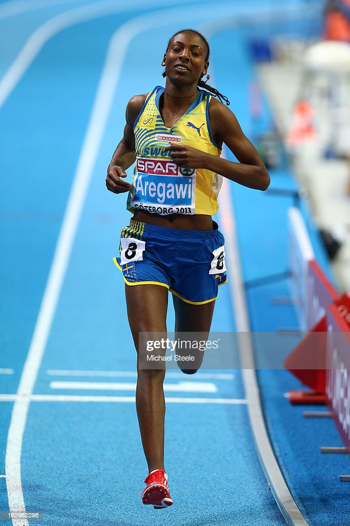 <a gi-track='captionPersonalityLinkClicked' href=/galleries/search?phrase=Abeba+Aregawi&family=editorial&specificpeople=7507662 ng-click='$event.stopPropagation()'>Abeba Aregawi</a> of Sweden crosses the line to win gold in the Women's 1500m Final during day two of the European Athletics Indoor Championships at Scandinavium on March 2, 2013 in Gothenburg, Sweden.
