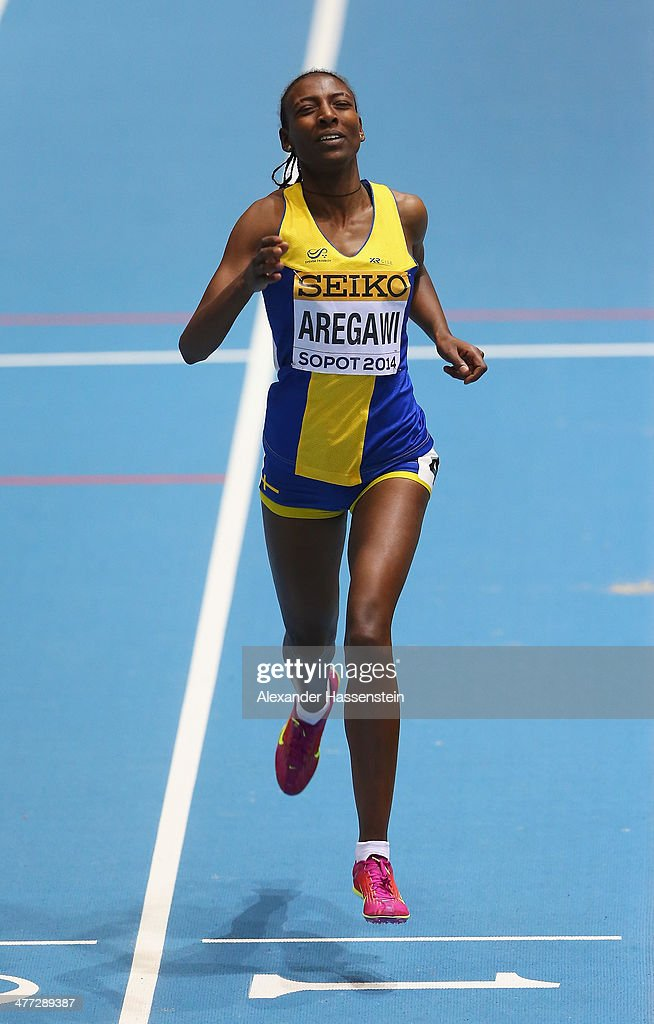 <a gi-track='captionPersonalityLinkClicked' href=/galleries/search?phrase=Abeba+Aregawi&family=editorial&specificpeople=7507662 ng-click='$event.stopPropagation()'>Abeba Aregawi</a> of Sweden crosses the line to win the gold medal in the Women's 1500m final during day two of the IAAF World Indoor Championships at Ergo Arena on March 8, 2014 in Sopot, Poland.