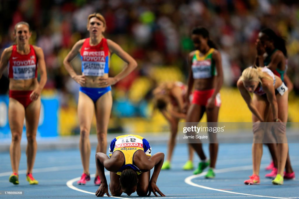 <a gi-track='captionPersonalityLinkClicked' href=/galleries/search?phrase=Abeba+Aregawi&family=editorial&specificpeople=7507662 ng-click='$event.stopPropagation()'>Abeba Aregawi</a> of Sweden reacts after winning gold in the Women's 1500 metres finalduring Day Six of the 14th IAAF World Athletics Championships Moscow 2013 at Luzhniki Stadium on August 15, 2013 in Moscow, Russia.