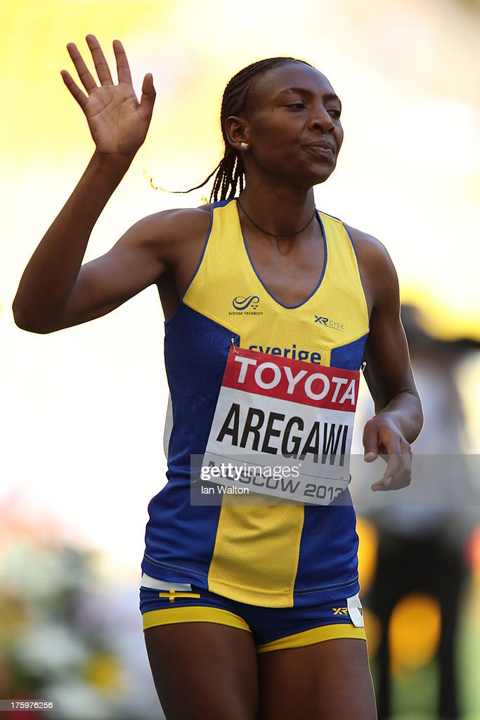 <a gi-track='captionPersonalityLinkClicked' href=/galleries/search?phrase=Abeba+Aregawi&family=editorial&specificpeople=7507662 ng-click='$event.stopPropagation()'>Abeba Aregawi</a> of Sweden waves as she competes in the Women's 1500 metres heats during Day Two of the 14th IAAF World Athletics Championships Moscow 2013 at Luzhniki Stadium on August 11, 2013 in Moscow, Russia.