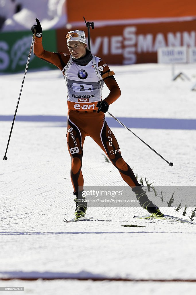 L'abee-Lund Henrik takes 1st place during the IBU Biathlon World Cup Men's Relay on December 9, 2012 in Hochfilzen, Austria.