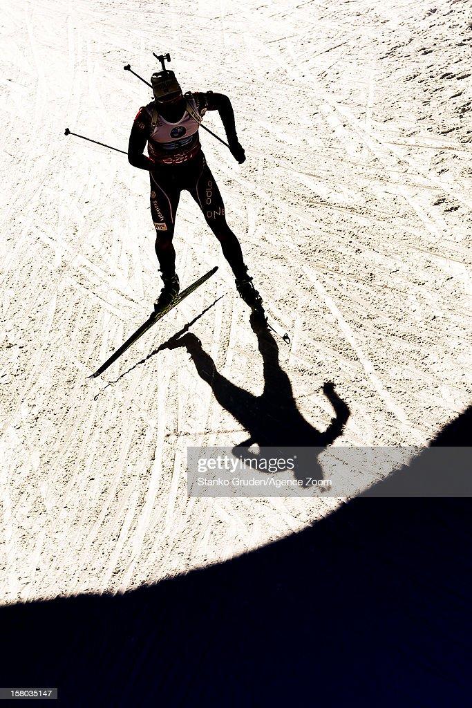 , L'abee-Lund Henrik takes 1st place during the IBU Biathlon World Cup Men's Relay on December 09, 2012 in Hochfilzen, Austria.