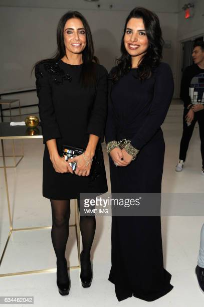 Abeer Al Otaiba and Amina Taher attend Etihad Airways Toasts New York Fashion Week 2017 at Skylight Clarkson Sq on February 9 2017 in New York City