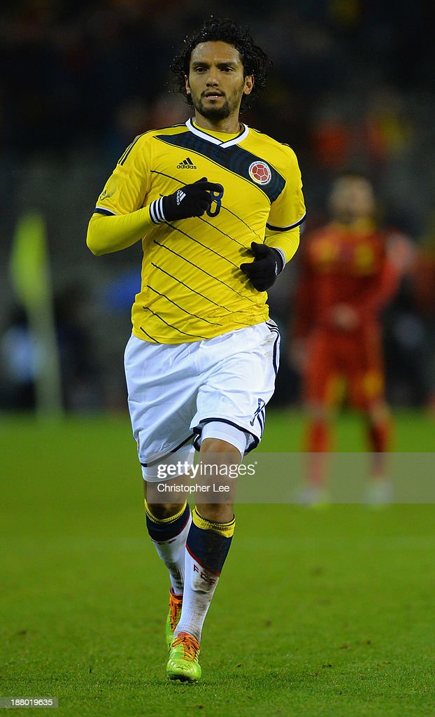 <a gi-track='captionPersonalityLinkClicked' href=/galleries/search?phrase=Abel+Aguilar&family=editorial&specificpeople=2309935 ng-click='$event.stopPropagation()'>Abel Aguilar</a> of Colombia in action during the International Friendly match between Belgium and Colombia at King Baudouin Stadium on November 14, 2013 in Brussels, Belgium.