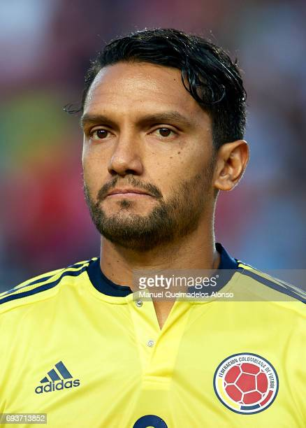 Abel Aguilar of Colombia stands for their national athem prior to the international friendly match between Spain and Colombia at Nueva Condomina...