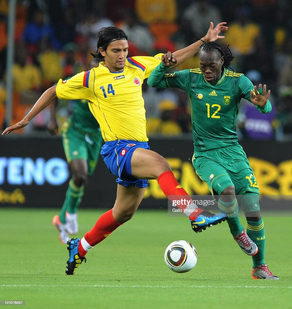 Abel Aguilar of Columbia and Reneilwe Letsholoyane of South Africa in action during the International friendly between South Africa and Columbia at Soccer City Stadium on May 27, 2010 in Johannesburg, South Africa.