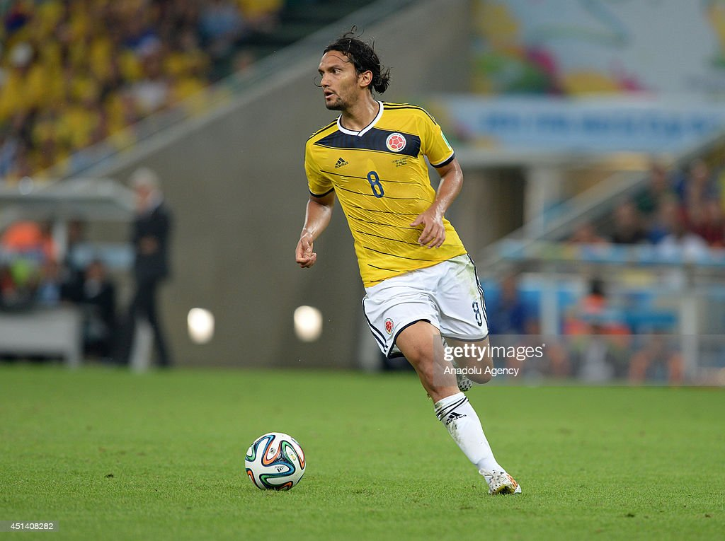 Abel Aguiler (8) of Colombia in action during the World Cup round of 16 soccer match between Colombia and Uruguay at the Maracana Stadium in Rio de Janeiro, Brazil on June 28, 2014.