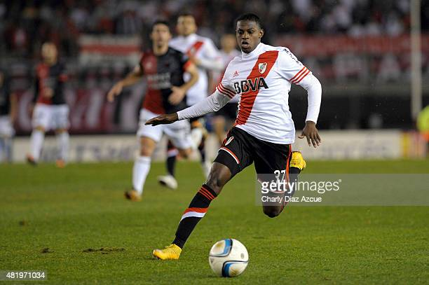 Abel Casquete Rodríguez of River Plate plays the ball during a match between River Plate and Colon de Santa Fe as part of 18th round of Torneo...
