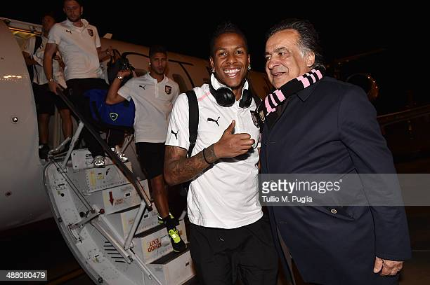 Abel Hernandez celebrates with Leoluca Orlando Mayor of Palermo after gaining promotion to Serie A on May 3 2014 in Palermo Italy