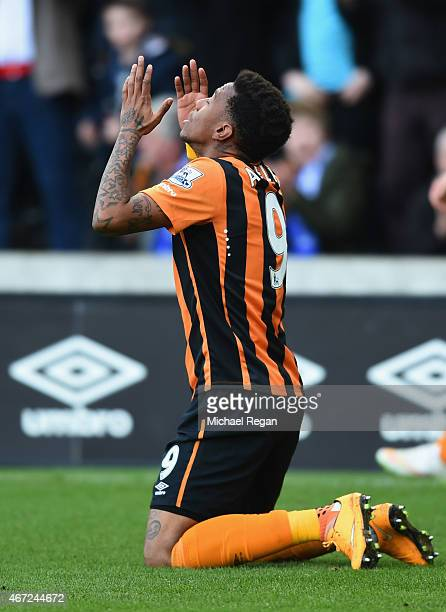 Abel Hernandez of Hull City as he scores their second goal during the Barclays Premier League match between Hull City and Chelsea at KC Stadium on...