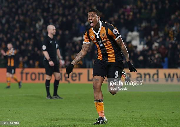 Abel Hernandez of Hull City celebrates after scoring his sides first goal during the Emirates FA Cup third round match between Hull City and Swansea...