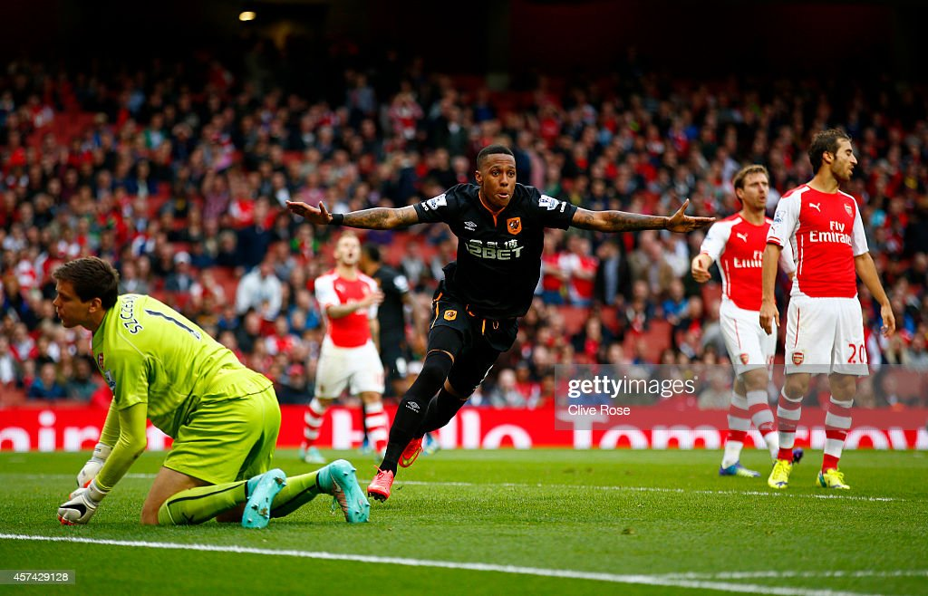 Abel Hernandez of Hull City celebrates after scoring his team's second goal during the Barclays Premier League match between Arsenal and Hull City at Emirates Stadium on October 18, 2014 in London, England.