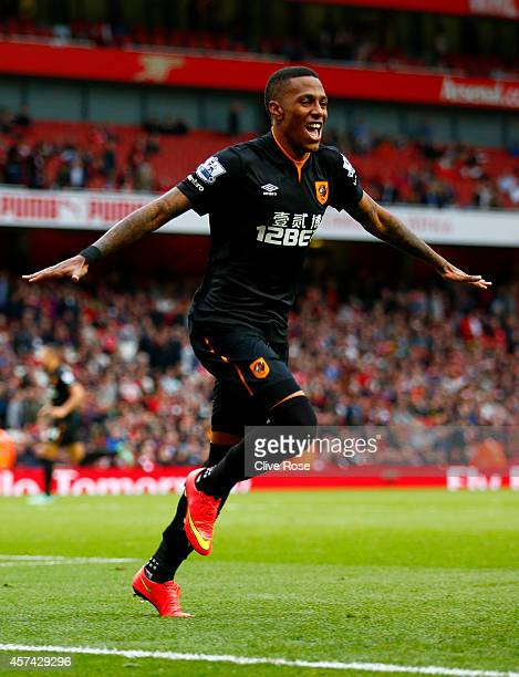 Abel Hernandez of Hull City celebrates after scoring his team's second goal during the Barclays Premier League match between Arsenal and Hull City at...