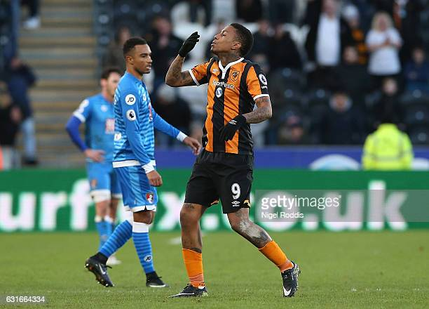 Abel Hernandez of Hull City celebrates scoring his sides first goal during the Premier League match between Hull City and AFC Bournemouth at KCOM...