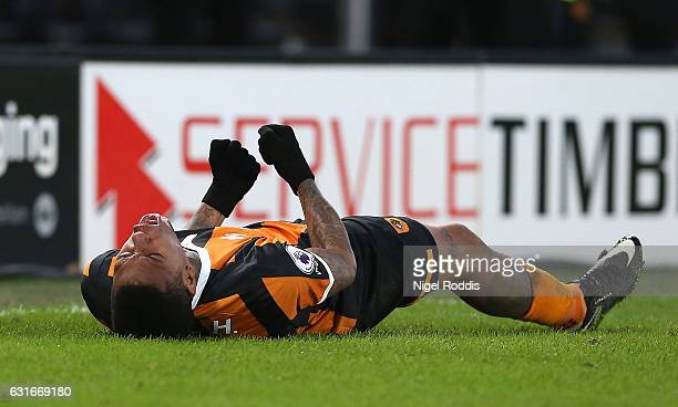 Abel Hernandez of Hull City celebrates scoring his sides second goal during the Premier League match between Hull City and AFC Bournemouth at KCOM...