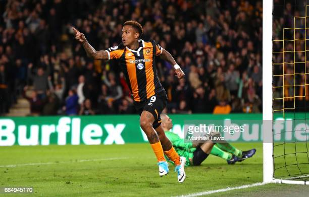 Abel Hernandez of Hull City celebrates scoring his sides third goal during the Premier League match between Hull City and Middlesbrough at the KCOM...