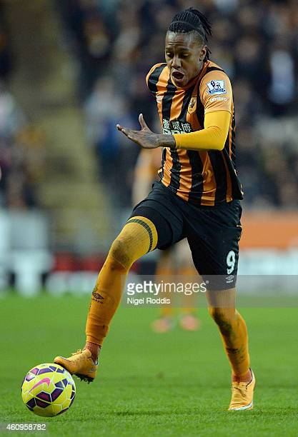 Abel Hernandez of Hull City during the Barclays Premier League match between Hull City and Everton at KC Stadium on January 1 2015 in Hull England