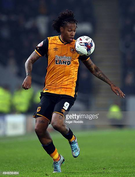 Abel Hernandez of Hull City in action during the Capital One Cup Fourth Round match between Hull City and Leicester City at KC Stadium on October 27...