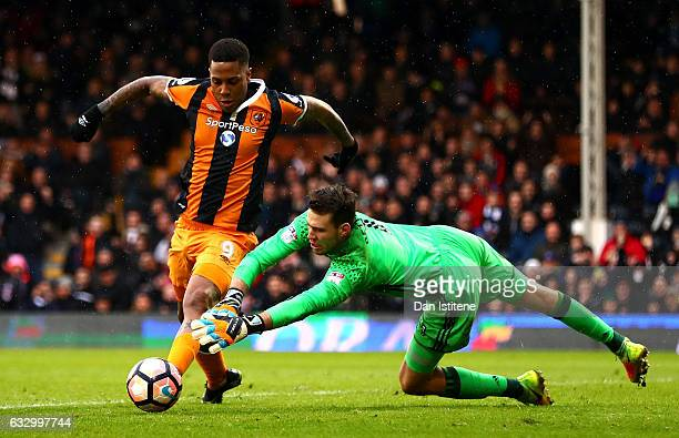 Abel Hernandez of Hull City is fouled by Marcus Bettinelli of Fulham FC and a penalty is awarded during The Emirates FA Cup Fourth Round match...