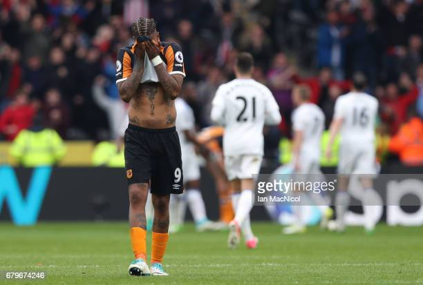 Abel Hernandez of Hull City reacts after the Premier League match between Hull City and Sunderland at the KCOM Stadium on May 6 2017 in Hull England