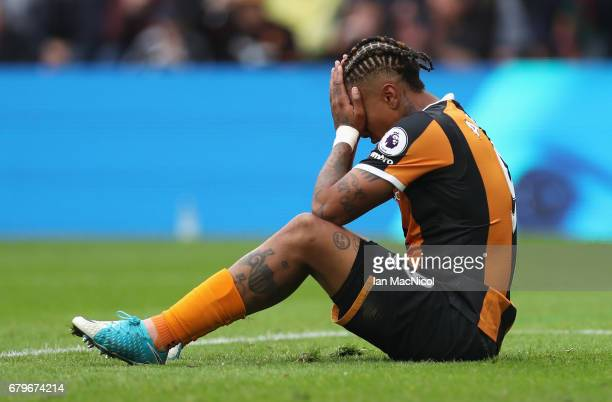 Abel Hernandez of Hull City reacts during the Premier League match between Hull City and Sunderland at the KCOM Stadium on May 6 2017 in Hull England