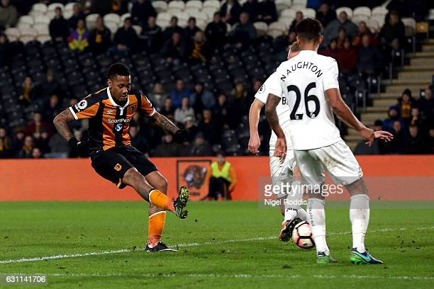 Abel Hernandez of Hull City scores his sides first goal during the Emirates FA Cup third round match between Hull City and Swansea City at KCOM...