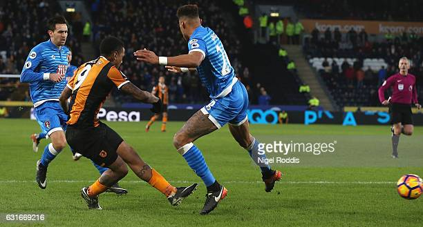 Abel Hernandez of Hull City scores his sides second goal during the Premier League match between Hull City and AFC Bournemouth at KCOM Stadium on...