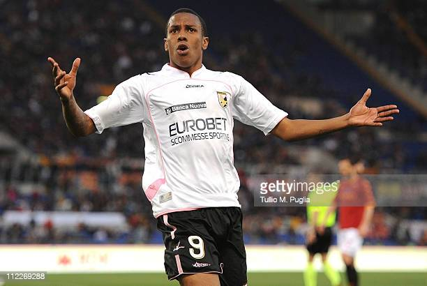 Abel Hernandez of Palermo celebrates after scoring his second goal during the Serie A match between AS Roma and US Citta di Palermo at Stadio...